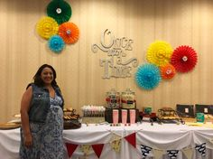 Storybook themed dessert table. The banner was fabric from the stories included from the shower.