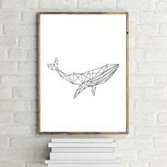 Whale Art Print Geometric Whale Print by LittleHawthorneArt