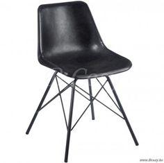 J-Line Lederen zwarte stoel met kruisen charles eames dsw design replica 50