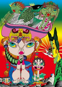 Keiichi Tanaami 2009-Japanese Woodblock (Edo period), Pop Art, Psychedelic Art, Comics