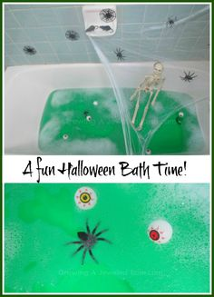 Surprise the little ones with a fun Halloween bath.  My girls loved it!  Could also be use as water play in a tubby or water play table.