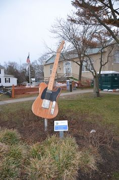 Bruce Springsteen guitar statue - Belmar, NJ. It's right at the corner of E street (the E Street Band) and 10th Ave (10th Ave Freeze Out).