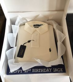 Ralph Lauren polo shirt cake for a 21st birthday.