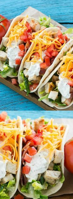 These delicious and easy Chicken Ranch Tacos from Dinner at the Zoo combine your favorite flavors to make a fun and easy dinner! Think of them as a chicken club sandwich in taco form, YUM!