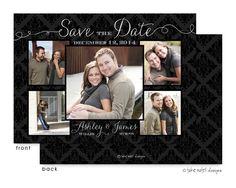 Damask Beautiful Photo Layout Save The Date Digital Photo Card