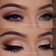 A beautiful soft shimmery pink with a brown cut crease.