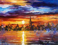 BARCELONA - Original Oil Painting On Canvas By Leonid Afremov http://afremov.com/TRUSTING-THE-SUN-Original-Oil-Painting-On-Canvas-By-Leonid-Afremov-16-x20-40cm-x-50cm.html?bid=1&partner=15955
