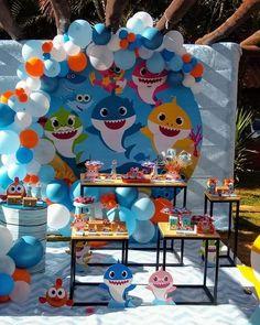 Carnival Birthday Cakes, Twin Birthday Cakes, Panda Birthday Party, Baby Boy 1st Birthday Party, Shark Party Decorations, Birthday Party Decorations, Baby Shark Song, Ideas, Shark Party
