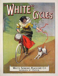ANONYME – Vintage poster – 'White cycles, by the White Sewing Machine Cie, London & Paris'. At the turn of the century a few sewing machine manufacturers have diversified in cycles production. Vintage Advertising Posters, Vintage Advertisements, Vintage Ads, Vintage Posters, Old Bicycle, Bicycle Art, Vintage Cycles, Vintage Bikes, Velo Shop