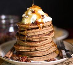 Healthy Pumpkin Pancakes recipe (sugar free, low fat, high protein, high fiber, gluten free, dairy free) - Healthy Dessert Recipes at Desserts with Benefits