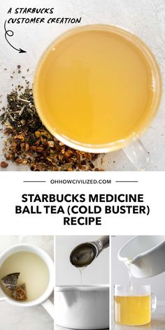 Self-medicating a pesky cold? I recommend the absolutely soothing and relieving Starbucks Medicine Ball Tea. It's the perfect cold buster. Learn the recipe here, click to continue. Hot Tea Recipes, Infused Water Recipes, Drink Recipes, Afternoon Tea Table Setting, Tea Etiquette, Perfect Cup Of Tea, Mint Tea, Starbucks Recipes, Medicine Ball