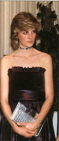 Princess Diana in a strapless dress by Roland Klein. The bodice is velvet and…