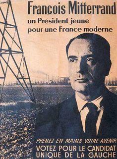 3) François Mitterrand, regard tourné vers la gauche, mise sur la simplicité et la sobriété pour ne pas dire l'austérité du décor industriel, synonyme de modernité à l'époque. L'affiche laisse une large place au texte. Mitterrand veut incarner la jeunesse (49 ans) face au vieillissant De Gaulle et se déclare « le candidat unique de la gauche ».
