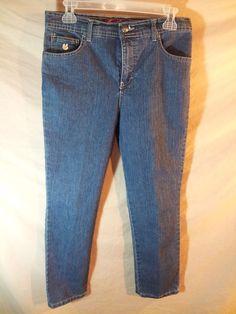 "Gloria Vanderbilt ""Amanda"" Women's Blue Jeans Stretch 8 Petite x 26"" inseam NICE #GloriaVanderbilt #Veryslighttaper"