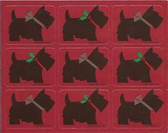 Vintage 80's Gibson Mylar Scottie Dogs Christmas Sticker Sheet