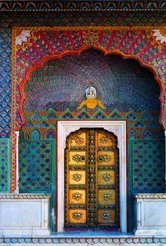Beautiful ornate Moroccan entryway.