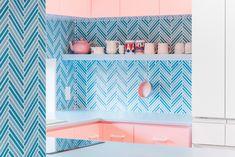 Adam Nathaniel Furman splashes a Tokyo apartment in pastels - AN Interior Tokyo Apartment, Japanese Apartment, Apartment Design, Japanese Bathroom, Open Cabinets, Kitchen Cabinets, Interior Concept, Interior Design, Modern Interior