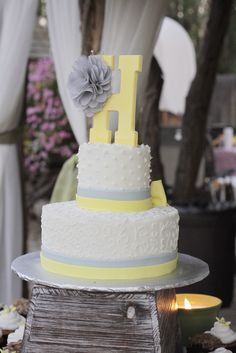 A Gray and Yellow Country Wedding at Still Water Hollow in Nampa, Idaho Large Wedding Cakes, Unique Weddings, Yellow Weddings, Rustic Wedding, Wedding Ideas, Grey And White, Gray, Wedding Cake Toppers, Vanilla Cake