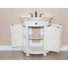 White Demilune Bathroom Vanity