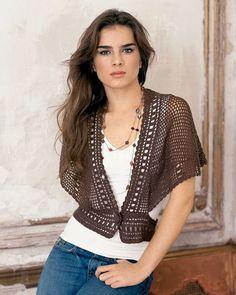 168 best crochet - boleros images on . Black Crochet Dress, Crochet Jacket, Crochet Cardigan, Moda Crochet, Free Crochet, Knit Crochet, Crochet Tops, Crochet Buttons, Poncho