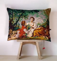 French Unique Vintage Tapestry Needlepoint by Retrocollects
