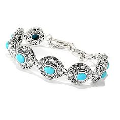 "Artisan Silver by Samuel B. 7.25"" Sleeping Beauty Turquoise Openwork Toggle Bracelet"