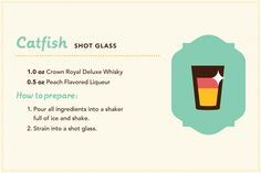 Manitoba cocktails: Catfish shot glass featuring Crown Royal Deluxe Whisky.