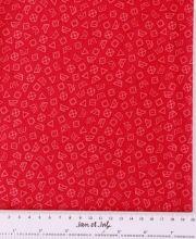 Tela roja con símbolos de lavado