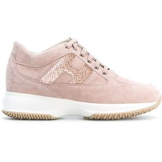 Hogan sequin embellished sneakers (€280) ❤ liked on Polyvore featuring shoes, sneakers, pink, hogan sneakers, real leather shoes, genuine leather shoes, leather sneakers and pink sequin sneakers