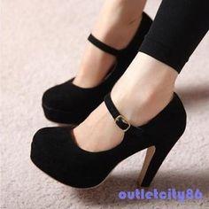 Women Sexy Suede Mary Jane Ankle Strap Platform Stilettos High Heel Pump Shoes | eBay