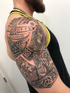 Vikinger Tattoo – Brazo vikingo – My CMS Slavic Tattoo, Norse Tattoo, Celtic Tattoos, Arm Tattoos, Body Art Tattoos, Tribal Tattoos, Sleeve Tattoos, Cool Tattoos, Viking Tattoo Symbol