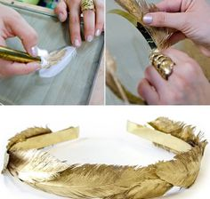 Diy Crafts - african-Gold DIY Head Gear❤ - For The Love Of DIY☺ Head Wraps scarf Head Wraps white girl african Head Wraps Diy Adult, Feather Headband, Diy Headband, Feather Crown, Gold Diy, Diy Hair Accessories, Bridal Accessories, Diy Invitations, Headgear