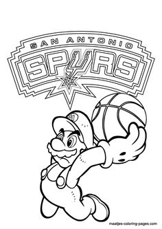 Free printable Super Mario playing basketball in the NBA with San Antonio Spurs coloring pages for kids Basketball Skills, Basketball Teams, Sports Teams, San Antonio Spurs Logo, Lebron James Miami Heat, Football Coloring Pages, Los Angeles Clippers, Oklahoma City Thunder, Outdoor Art