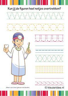Schrijfpatroon voor kleuters, kleuteridee.nl , thema tandarts voor kleuter, dental writing pattern, free printable 2.