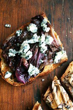 braised radicchio and gorgonzola tartine