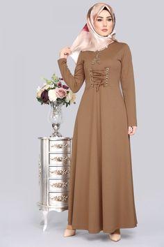 Lace Detail Hijab Dress Taba - World Fashion Week Abaya Fashion, Muslim Fashion, Fashion Dresses, Islamic Fashion, Mode Abaya, Mode Hijab, Hijabi Gowns, Muslim Dress, Hijab Dress