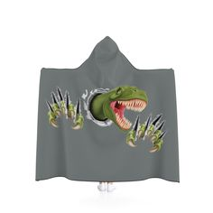 T-Rex Breakout Hooded Blanket - Grey. by MbiziHome on Etsy Pet Urine, Hooded Blanket, T Rex, Favorite Color, Blankets, Hoods, Trending Outfits, Handmade Gifts, Etsy