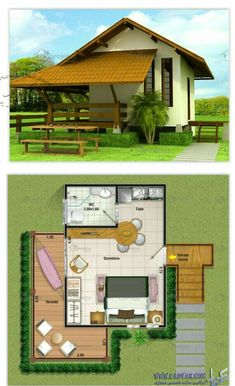 Very Simple House type Mini House Plans, Small House Plans, Bungalow, Small House Design, Modern House Design, Hut House, Bamboo House, Sims House, Cabins And Cottages