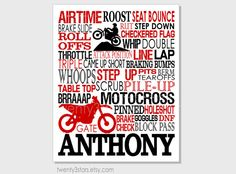 Motocross Typography Art Print Perfect Boy's Room by twenty3stars, $10.00