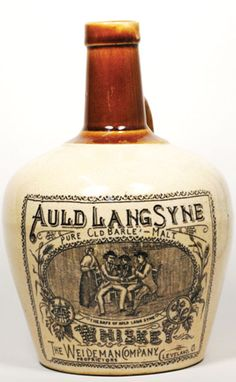 WB65, 200mm tall, 2 tone stoneware Whisky Jug, Auld Lang Syne Pure Old Barley Malt Whiskey, The Weideman Company Cleveland… / MAD on Collections - Browse and find over 10,000 categories of collectables from around the world - antiques, stamps, coins, memorabilia, art, bottles, jewellery, furniture, medals, toys and more at madoncollections.com. Free to view - Free to Register - Visit today. #Whisky #Collectables #MADonCollections #MADonC