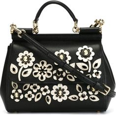 Dolce & Gabbana small 'Sicily' tote ($3,090) ❤ liked on Polyvore featuring bags, handbags, tote bags, black, flower handbag, dolce gabbana purse, black purse, top handle handbags and dolce&gabbana