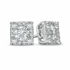 Previously Owned - Lab-Created White Sapphire Composite Square Stud Earrings in Sterling Silver