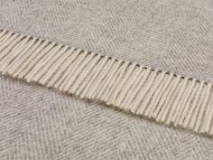 Wool Throw Blanket by Bronte - Merino Lambswool - Variegated Herringbone (Gray) from Tredoni
