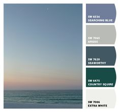 "Ocean paint colors. ""Let's Chip It,"" an online tool by Sherwin Williams. You can upload a favorite photo, and it will generate customized paint chips from the colors of your photo."