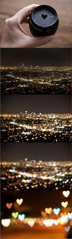 Heart shaped light blur photography