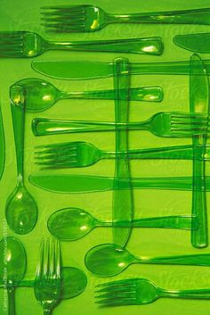 A collection of bright green plastic cutlery on a green background Bright Green, Green Colors, Colours, Green Art, Rainbow Aesthetic, Aesthetic Colors, Aesthetic Objects, Color Verde Claro, Green Pictures