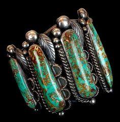"""Vintage Navajo Turquoise Sterling Cuff Bracelet Signed """"DE"""""""