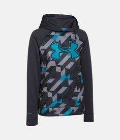 Boys' UA Storm Armour® Fleece Printed Big Logo Hoodie, ANTHRACITE, zoomed image
