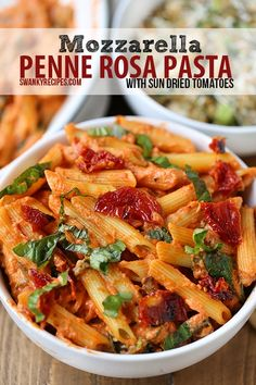 Mozzarella Penne Rosa Pasta with Sun-Dried Tomatoes - So easy, so flavorful!!  Takes 20 minutes to make and is packed with gooey cheese and sun-dried tomatoes.  This Mozzarella Penne Rosa Pasta was a huge hit, will definitely make this again!