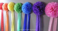 rainbow Pompones de Papel